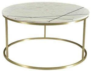 """There's no end to the number of different sizes, heights and shapes of solid wood coffee and occasional tables available. 30"""" Teresa Coffee Table Solid Marble Top Round White Black Accents Brass Frame 