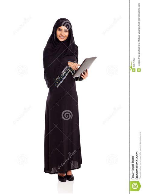 arabic woman tablet stock photo image  eastern arabic