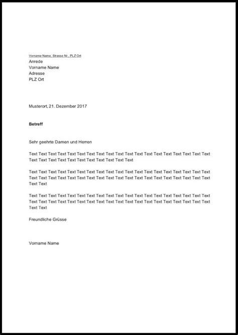 briefvorlage word schweiz kostenloser
