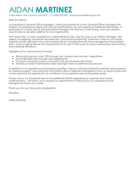 admin general manager cover letter examples livecareer