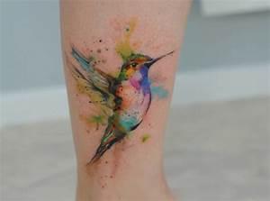 Colibrí en Acuarelas by Aleksandra Katsan Tatuajes para Mujeres