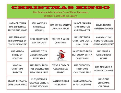 adult ice breaker christmas bingo gamesheet