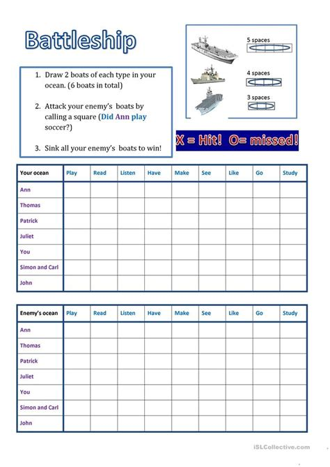 battleship simple  worksheet  esl printable