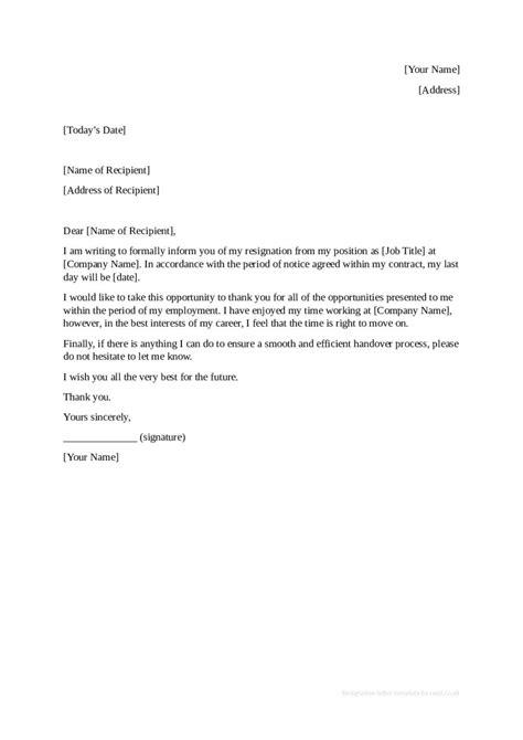 Resignation Letter Template Pdf ~ Addictionary