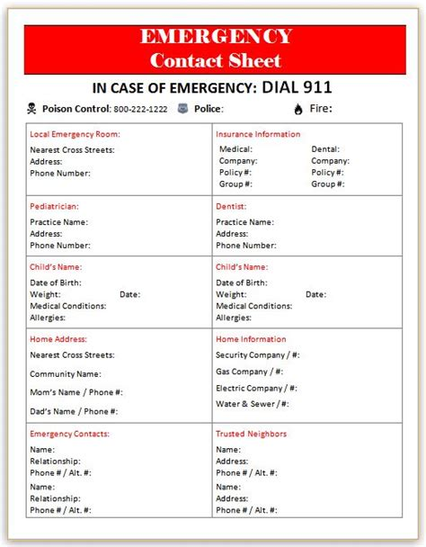 emergency contact template printables archives page 4 of 4 the lovebugs