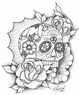 Coloring Sugar Skull Mexican Dead sketch template