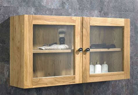 Wall Cabinet by Assembled Solid Oak Glass 750mm Bathroom Door Wall