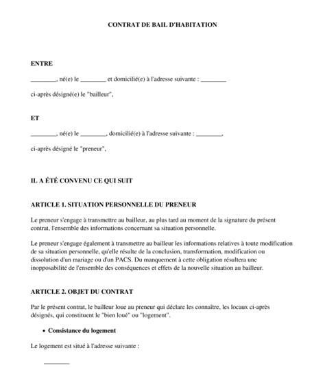 bail chambre meubl馥 contrat de bail location non meublee 9 exemple bail location vide document evtod