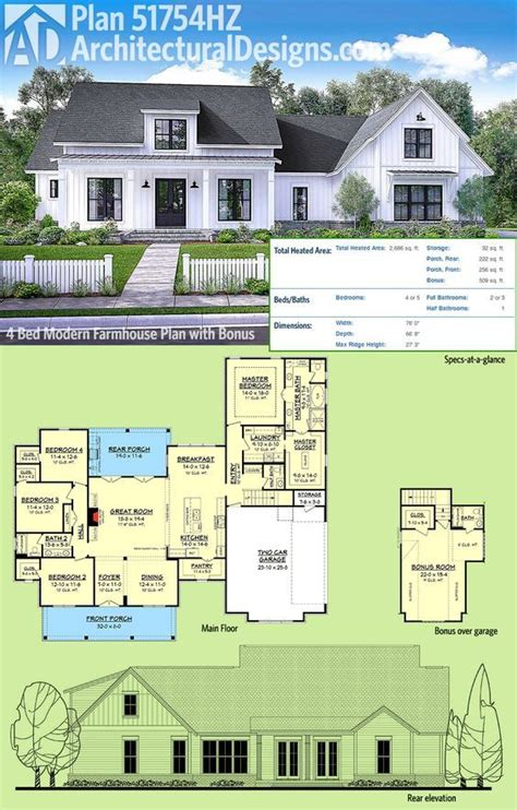 farmhouse floor plan plan 51754hz modern farmhouse plan with bonus room