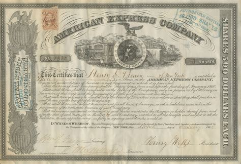 william fargo henry wells signed american express stock