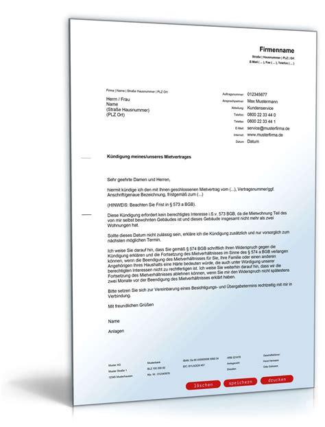 kündigung schreiben mietvertrag k 252 ndigung mietvertrag einliegerwohnung muster zum