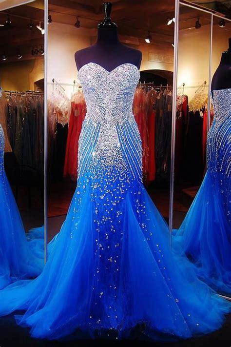 mermaid prom dress royal blue sweetheart sequins