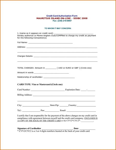 credit card authorization 10 blank credit card authorization form pdf lease template