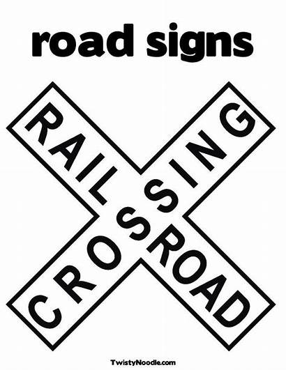 Sign Signs Road Coloring Street Crossing Railroad