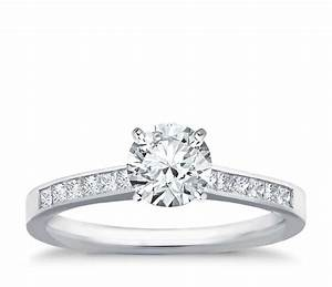 Channel set princess cut diamond engagement ring in 14k for Wedding ring settings