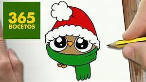 COMO DIBUJAR UN BUHO PARA NAVIDAD PASO A PASO: Dibujos kawaii navideños How to draw a owl