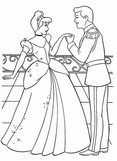 Cinderella Coloring Pages Princess Prince Disney Printable