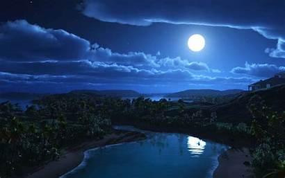 Luna Paisajes Paisaje Moon Pantalla Lagoon Sky