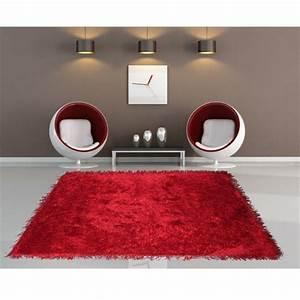 Tapis Rouge Salon : tapis shaggy pour une atmosph re douce et confortable ~ Teatrodelosmanantiales.com Idées de Décoration