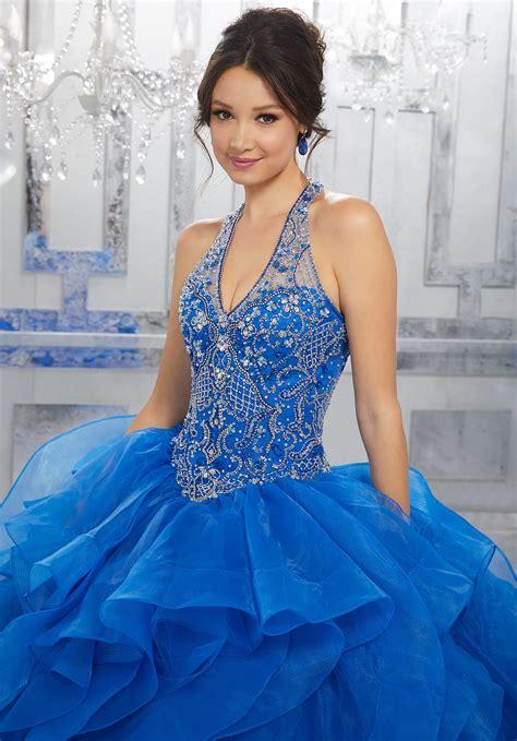 crystal beaded bodice  flounced organza ball gown
