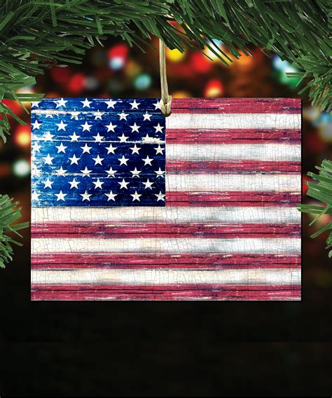 american flag rustic wooden ornament  magnets