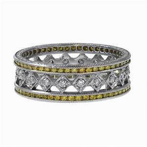 Yellow Diamond Wedding Band Estate Diamond Jewelry