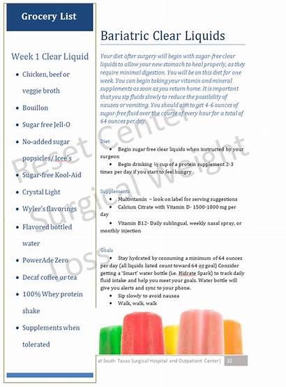 Clear Bariatric Week Diet Liquid Surgery Progression