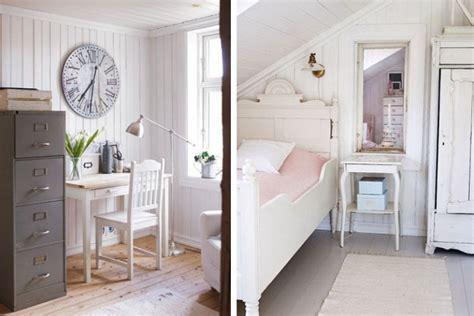 white bedroom  slooping ceiling  work desk