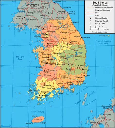 south korea map  satellite image