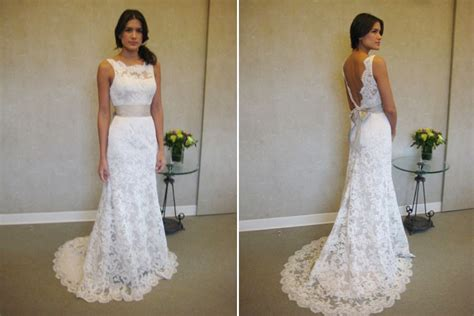 Formal White Lace Sweep Train Bridal Gown Simple Popular