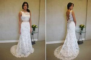 formal white lace sweep train bridal gown simple popular With white lace wedding dresses