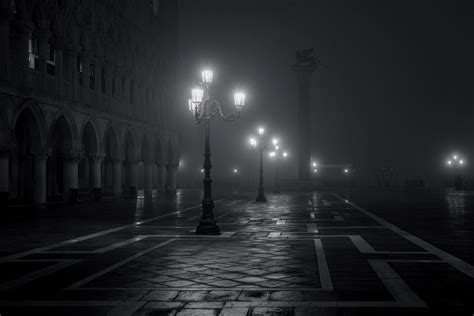 venice italy piazza san marco city night fog lights black