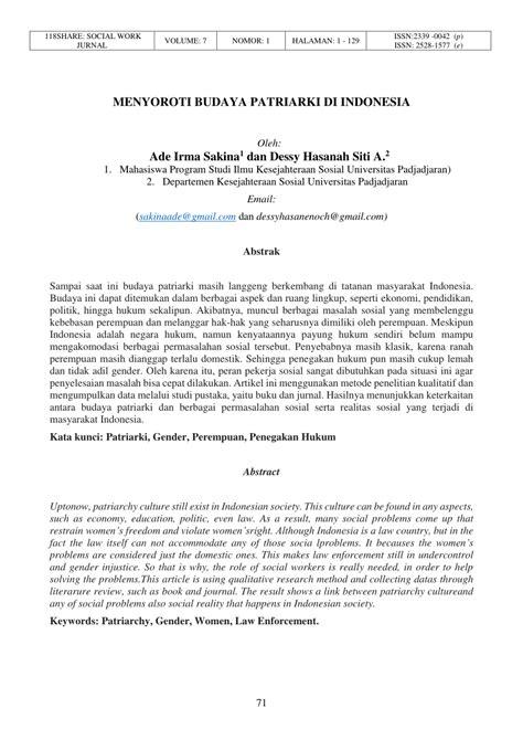 (PDF) MENYOROTI BUDAYA PATRIARKI DI INDONESIA