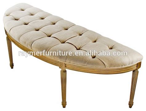 French Louis Style Curved Natural Linen Tufted Wood