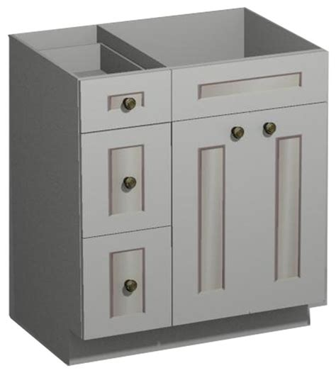 30 Inch Bathroom Vanity With Drawers by 30 Inch White Shaker Vanity Combo Base Drawers Left Us