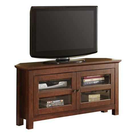 Small Corner Tv Stand With Glass Door Cabinets And Knob
