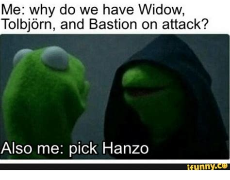 What Font Do Memes Use - me why do we have widow tolbjorn and bastion on attack also me pick hanzo funny bastion meme