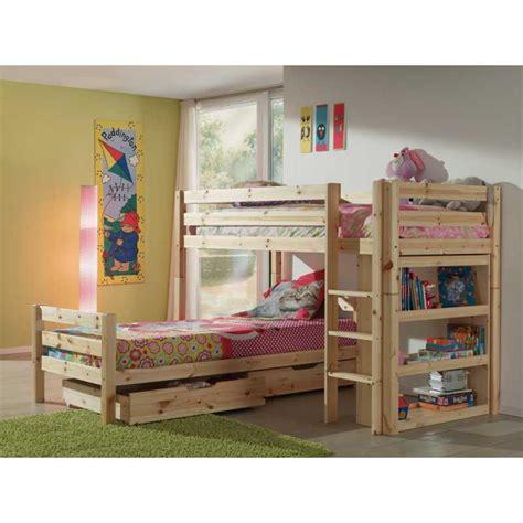 lit superpos 233 d angle avec tiroirs coloris bois nature