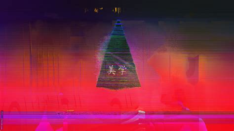 Glitch Purple Neon Aesthetic Wallpaper by Glitch Neon Aesthetic Japan Triangle Abstract 1920x1080