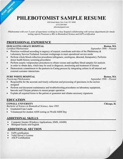The Essential Parts Of A Resume by More Phlebotomy Resume Templates