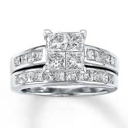 princess cut wedding set jared bridal set 2 1 2 ct tw princess cut 14k white gold