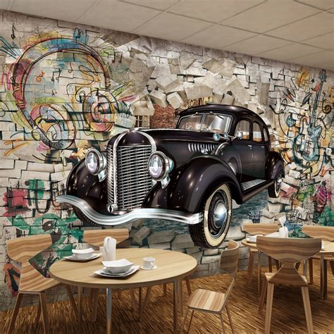 vintage wallpaper custom  stereo relief classic cars