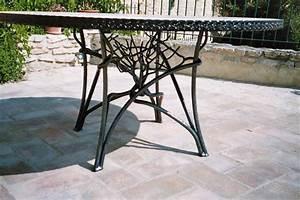 Table D39extrieur En Ferronnerie M Cration Bniste D