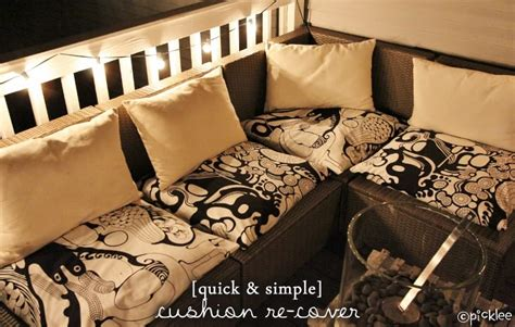 No Sew Cushion Covers Sofa by No Sew Simple Cushion Re Cover Diy Picklee
