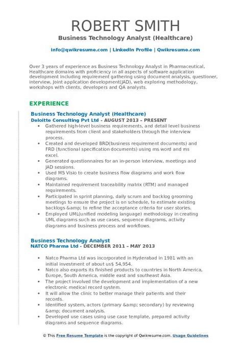 Healthcare Business Analyst Resume by Business Technology Analyst Resume Sles Qwikresume