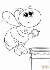 Bee Coloring Honey Cartoon Pages Printable Sheets Bees Cute Sheet Drawing Insect Honeybee sketch template