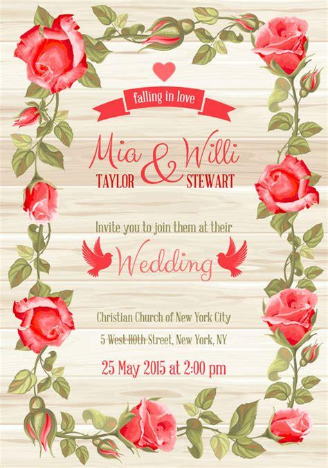 perbatasan mawar merah pernikahan kartu undangan kartu kartu vektor vektor gratis  gratis