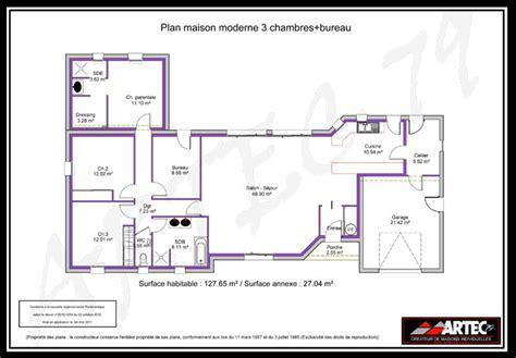 plan maison 3 chambres 1 bureau immobilier pour tous