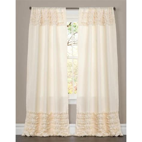 lush decor skye ivory ruffled 84 inch curtain panel