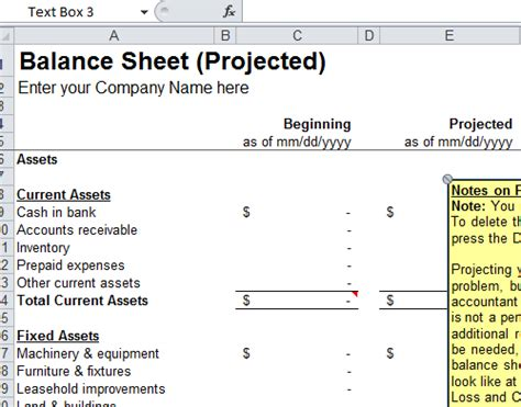 balance sheet format templates in excel